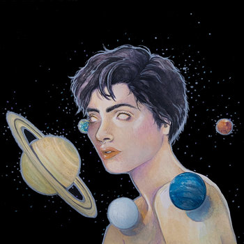 A drawing of a person with short hair and no irises on a black/space background. The image is cut off just below the shoulders. They are surrounded by planets.