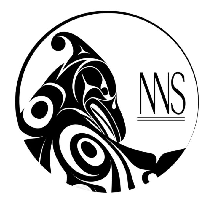 Black line on white background. The head and right shoulder/wing of a Coast Salish Thunderbird in formline style. NWS in stylized text is to the right of the birt